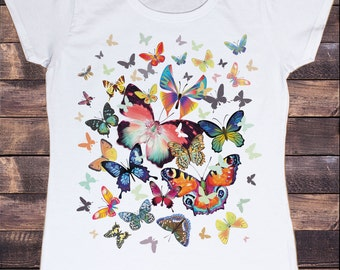 Women's White T-Shirt With Scattered Butterfly Print TSN7