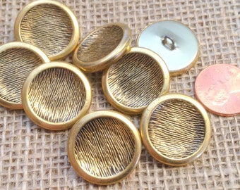 """Lot of 8 Brass Tone Metal Shank Buttons Concave Puffed 7/8"""" 22mm # 7299"""