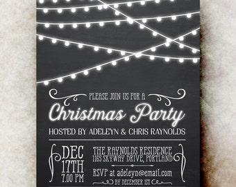 Printable Christmas Party Invitation - Christmas Invitations, Rustic Christmas invitation, Stringlights Christmas invitation