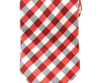 Men's Necktie Red White and Black Gingham  Necktie 8.5cm Party Tie. Casual Tie. Handmade Tie. Red tie.Formal Suit Tie.Business Tie.