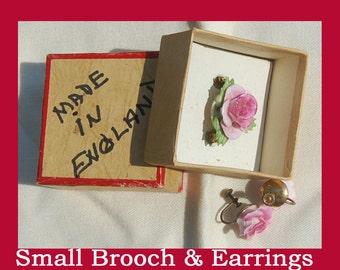 Denton China Brooch & Earrings - Staffordshire England - post WW2