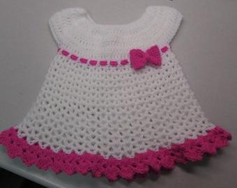 Girls Crochet Infant Dress - Sizes 6m, 12m, 18m, 24m
