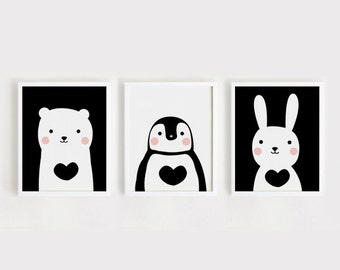Black and white Printable Nursery Art Set of 3 Poster Bear Bunny Penguin Baby room Wall art Child room decor Kids room deco INSTANT DOWNLOAD