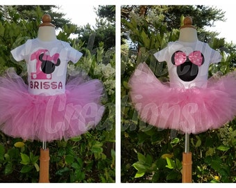 Minnie Mouse Birthday Outfit Set // You Choose 1 Onesie Set or both Onesie Set // Pink Minnie Mouse Shirt // First Birthday