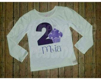 Cupcake Birthday Shirt *Purple Cupcake Shirt *Personalized Birthday Shirt/Onesie