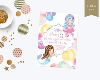 Mermaid Watercolour Girls Birthday Invitation - Personalised - Printable - Digital File - 5x7 - Bubbles - Mermaids - Birthday Party - Invite