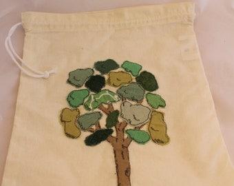 Original design, tree applique, draw string bag