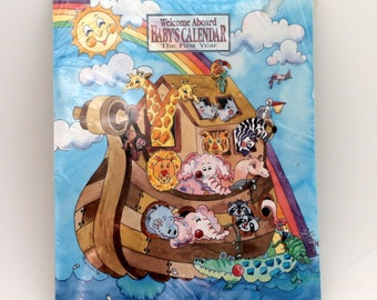 Baby Calendar, Noah's Ark Rieva Lipsey's Art, Nursery Decoration, 13 Month Babys First Calendar and Planner, NOS, Never Used
