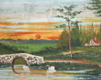 Large Antique Oil Painting Landscape Lake Swans