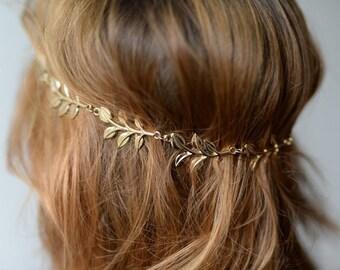 Hair accessories - golden leaf Garland for bride