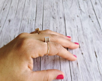 Ring adjustable - cube ring in silver