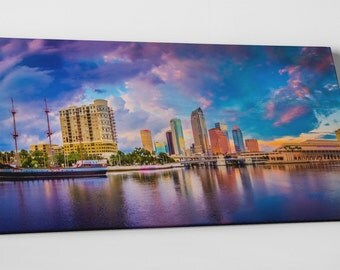 """Tampa Bay Florida Downtown Panoramic Skyline Gallery Wrapped Canvas Print 30""""x16"""""""