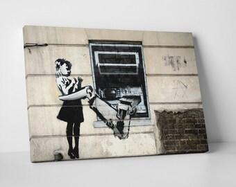 Banksy Atm Girl Gallery Wrapped Canvas Print. BONUS! BANKSY DECAL!