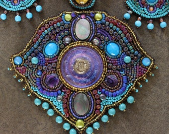 Vintage Faria Siddiqui Beaded Ensemble with Necklace and Earrings - Amazing Beadwork by Reknowned Artist!