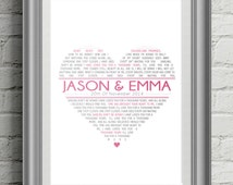 First Dance Lyric Poster / Song Lyric Heart poster / Typographic Poster / Graphic Design / Wedding Gift