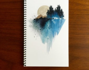 Watercolor Notebook 5 x 8 Watercolor Design Moon Mountains Trees Nature notebooks Spiral Bound journal diary holiday gifts LOGO FREE