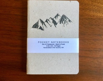 Mountain Notebooks 2 pack 3.5in x 5in Pocket Notebook handcrafted journal diary sketchbook gift set handmade kraft Premium Notebook no logos