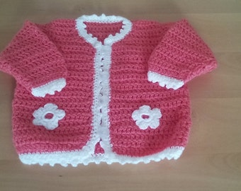 Baby girl sweater, crochet sweater, baby girl  sweater 3-6 months, crochet girl hat, newborn girl sweater,ready to ship