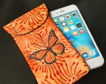 iPhone 6 case, Quilted Butterfly, medium size Smart phone case, Gadget case. medium phone pouch, iPhone 6 bag,eyeglass, cell phone case 6#5