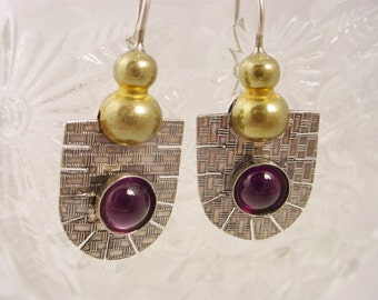 Textured Sterling Shield Earrings with Amethyst and Brass Elements on Sterling Ear Wire