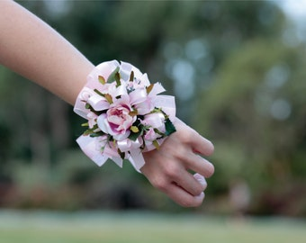 Light Pink Small Cabbage Rose Wrist Corsage for Weddings Bridesmaids Mothers Prom and Formal
