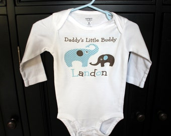 Father's Day Daddy's Little buddy Elephant bodysuit or t-shirt