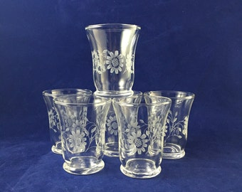 Vintage Juice Glasses | Set of Six | Clear with Floral Pattern | 3 fl oz