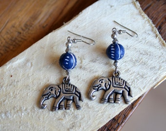 Terracotta clay bead Elephant handmade earrings