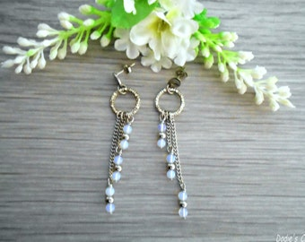 Earrings cascades stainless steel and opal beads Boho jewelry By Dodie