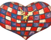 Tartan Heart Wall Clock  Small Wood NonTick Cute Red Violet White Oil pastel Art Focal point Bedroom Decor Love token 5th Anniversary