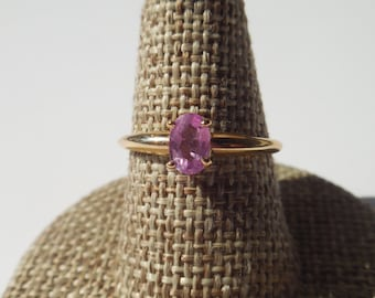 Natural Pink Sapphire Ring 14k yellow Gold | Pink engagement ring | Sapphire engagement ring | Pink ring | Gold ring with Pink Sapphire