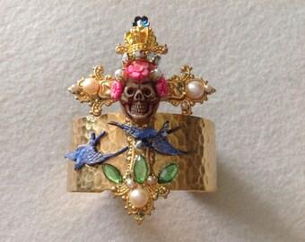 Vintage  Art Nouveau style cuff,cross, skull, sparrow ,vintage pearls, porcelain roses,Miriam Haskell elements