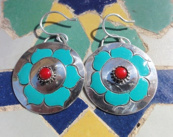 Earrings with Turquoise Flowers and Coral