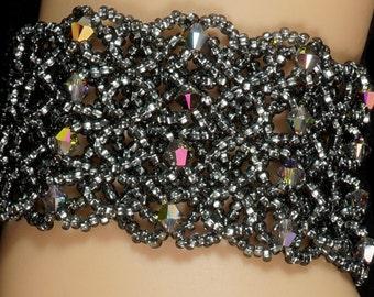 Swarovski crystal beaded dark silver cuff bracelet. silver crystal cuff bracelet. grey crystal bracelet. Swarovski beaded cuff  bracelet