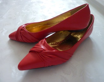 Womens Flats red Leather Shoes 5 7,5 38