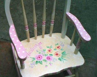 bow back flower rocking chair, kids rocker, hand painted rocking chair, hand painted furniture