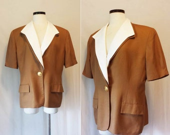 Vintage 1980s Christian Dior Brown & White Jacket // 80s Light Brown Dior Jacket w/ Removable Notched Collar // Size 16 (Large / XL)