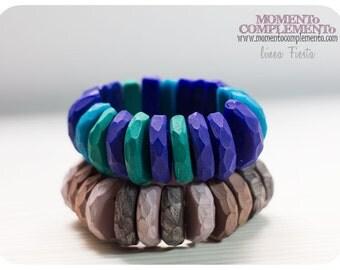 bangle bracelets handmade carved polymer clay metal free elegant chic elastic unique designs