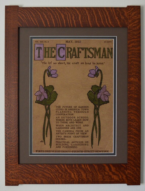 The Craftsman Violets Mission Style Art In Quartersawn Oak