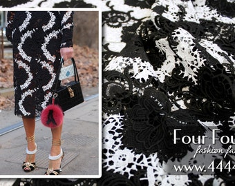 Black and white lace fabric by the yard #5180