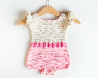 CROCHET PATTERN - Crochet Baby Romper Pink Flamingo - Baby Onesie - Babay Overall - PDF