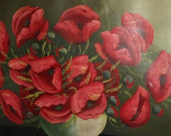 Vintage still life with poppies oil painting