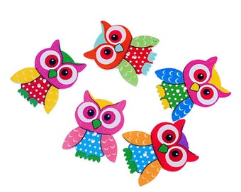 Large wooden owl shape buttons, 25 buttons mixed colors, scrapbooking, flatback, cute owls,
