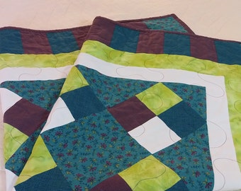 Handmade Quilt - eggplant, lime & turquoise
