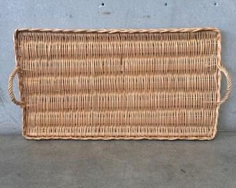 Large Vintage Rattan Tray (HB4EB7)