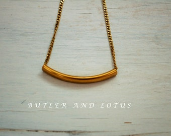 Curved Gold Tube Necklace- Minimalist- Dainty Jewellery