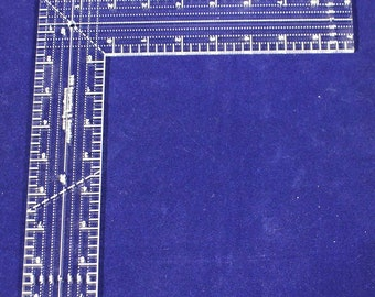 """9"""" L-Shaped Ruler.  Clear Acrylic - Quilting/Sewing/Template"""