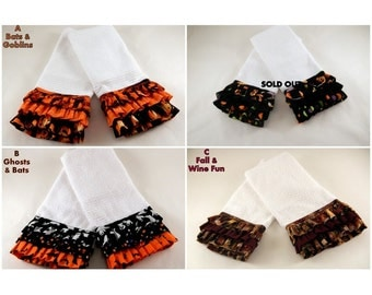 Ruffled Kitchen Towels-Halloween towels-Fall towels-Holiday Kitchen Ruffled Decorative Towels - Sold in Pairs!!