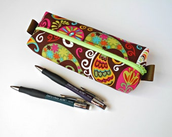 Box Pencil Pouch, Fabric Pencil Case Pencil Bag Box Zipper Pouch Purse Organizer Zipper Pouch Cosmetic Bag Back to School Brown and Neon