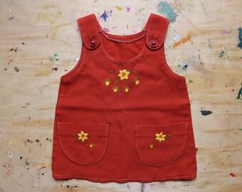 Soviet Vintage Toddler Dress. Toddler Size 2, Retro Russian Orange Brown Sleeveless Dress. Made in USSR